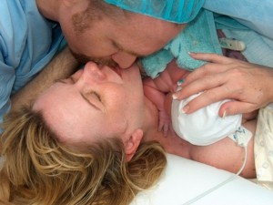 Kathryn and Gregg with Lachlan, moments after his arrival